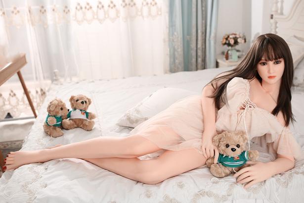 Lange schwarze Haare Silikon Puppe