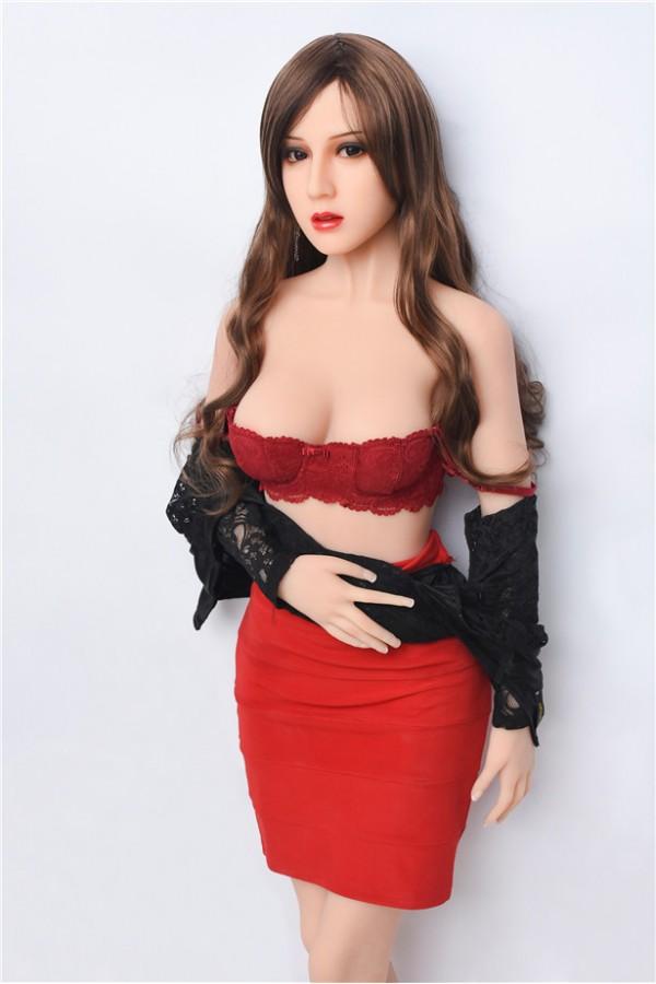 Geraldine-Schöne Teenager-Sexpuppe mit langen lockigen Haaren und Taille