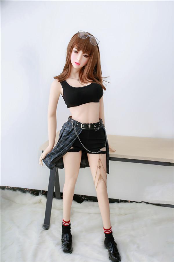 Hazel-156cm die gerne karierten Rock trägt Liebespuppe