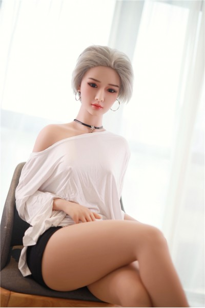Blanche-157cm schöne silberne Haare E-Cup Liebespuppen