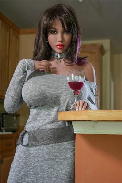 Felipa-171cm hochwertige Liebespuppe im grauen Kleid