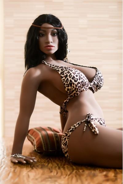Jeanette-158cm Echte Dunkelbraune Haut Sexpuppe